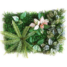 60x40 Cm DIY Green Artificial Plant Wall Eucalyptus Clover Fern Leaf Lawn Hotel Wedding Background Decoration Tropical Leaves