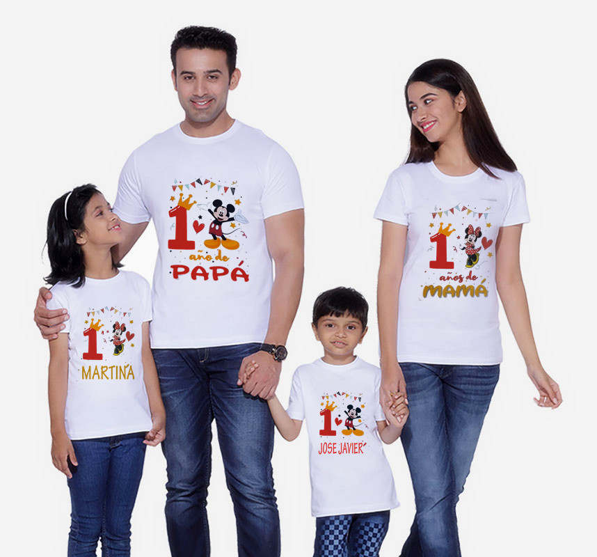 Mouse Family Matching Clothes T-Shirt Mommy And Me Clothes It Is My 1st Birthday TShirt Boys Clothes Birthday Short Sleeve Shirt