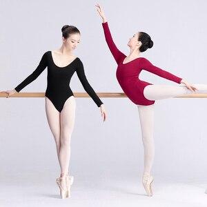 Image 2 - Women Ballet Leotard Adult Ballet Dancewear Short Sleeve Bodysuit Cotton Spandex Dance Clothes For Ballerina