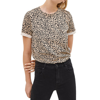 New Women Tshirt Summer Casual O-Neck Leopard Print T Shirt Fashion Short Sleeve Tunic Tops Streetwear Camisetas Verano Mujer shein color block cut and sew leopard panel top short sleeve o neck casual t shirt women 2019 summer leisure ladies tshirt tops