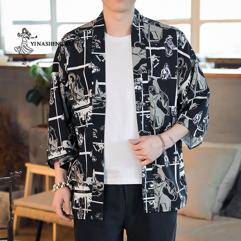 Japanese Kimono Men Kimono Cardigan Yukata Men Print Asia Clothes Top Kimono Cosplay Costume Summer Beach Thin Casual Coat Shirt