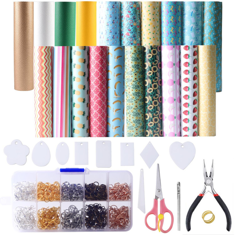 DIY Earrings Homemade Material Set Summer Style Leather Material DIY Template Kit Strawberry Stripe Pattern Material Wholesale