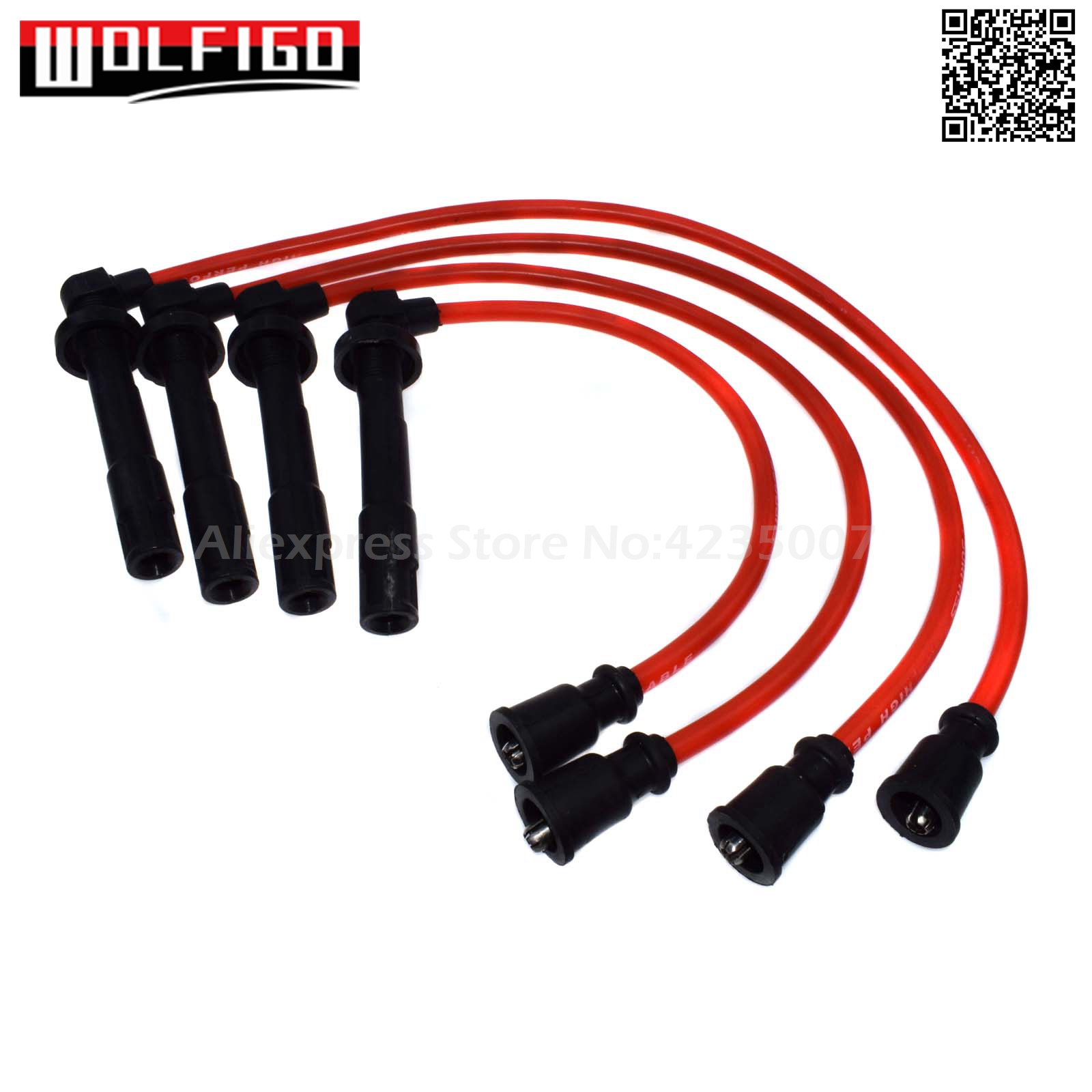Spark Plug Wires Set 10.2MM Silicone Fit Mitsubishi Eclipse Red 4G61 4G63 4G64
