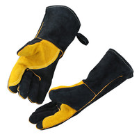 Black Welding Work Gloves Yellow Palm Welders Thick Cow Split Leather Kitchen Stove Heat Puncture Resistant BBQ Glove