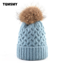 Chapeaux en fourrure de raton laveur pour femmes, bonnets en laine tricotée, épais et chaud, couleur unie, pompon, Bonne qualité, hiver, 100%