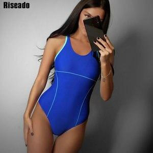 Image 2 - Riseado 여성을위한 새로운 2019 스포츠 수영복 경쟁 수영복 원피스 수영복 솔리드 레이서 백 수영복