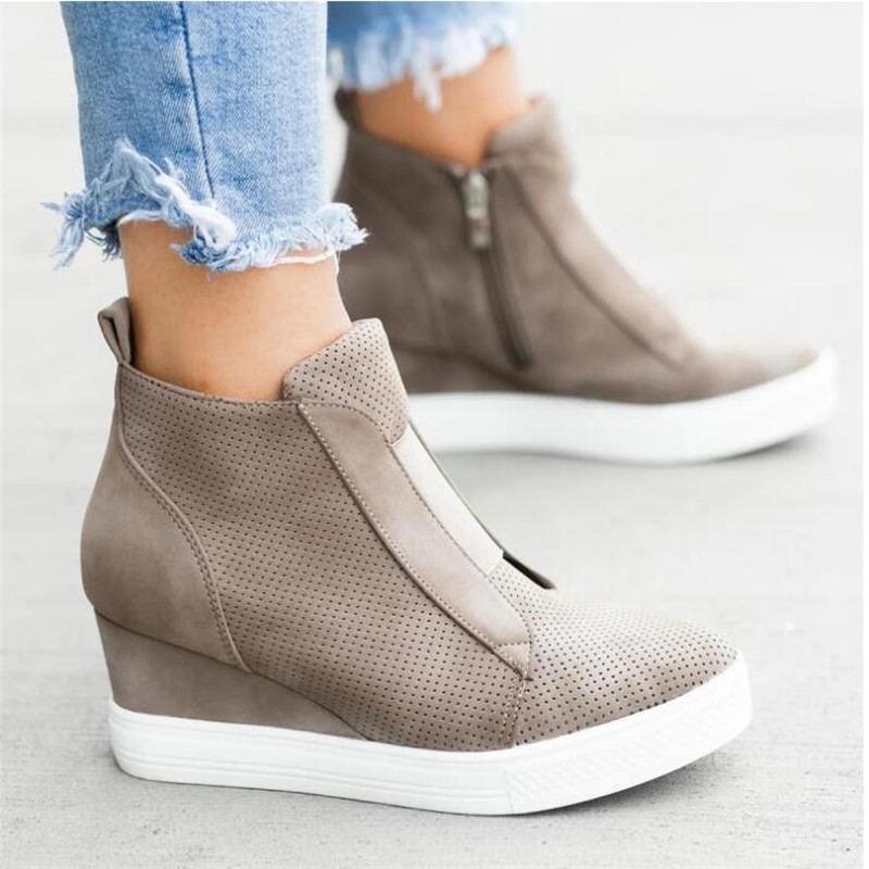Women Sneakers Breathable Wedges Platform Vulcanize Shoes Woman Pu Leather Women Casual Shoes Tenis Feminino 2019