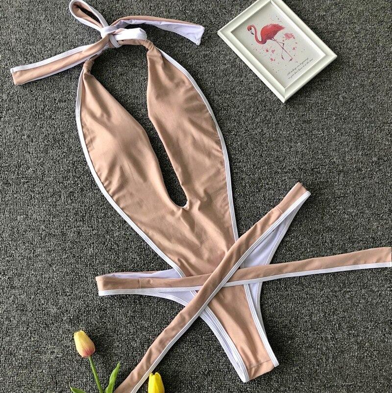 Peachtan Leopard print one piece swimsuit female Deep v-neck bikini 2020 Bandage bathing suit monokini swimwear women bathers 5