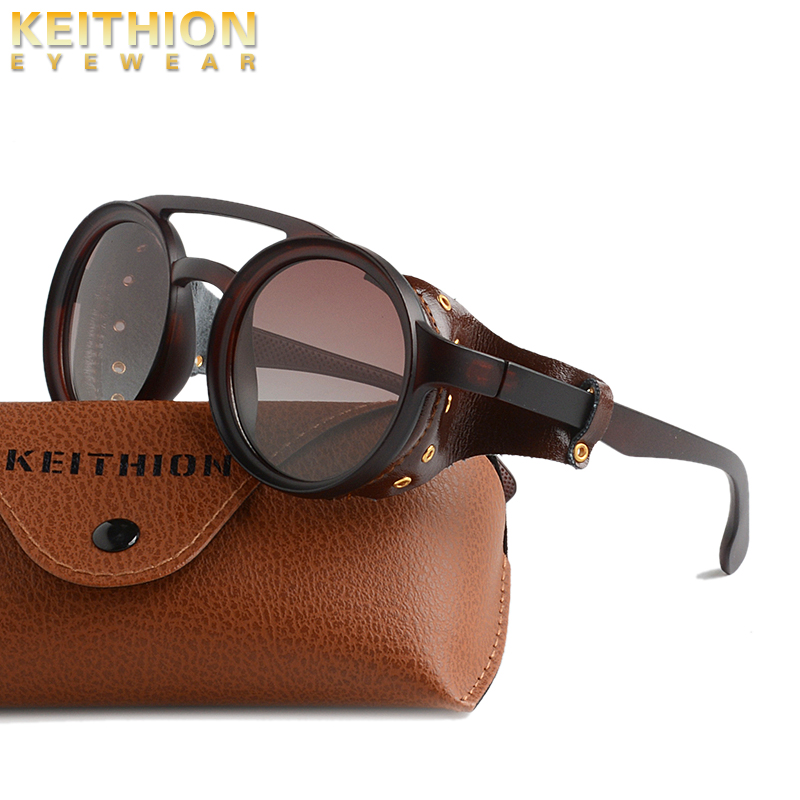 KEITHION Round Sunglasses Shield Steampunk Vintage Brand Men Polarized Retro Women Windproof