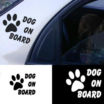 Car Sticker Warning Signs Car Sticker Dog On Board Paw Cute Decal Reflective Decoration car accessories наклейки на авто 2020 image