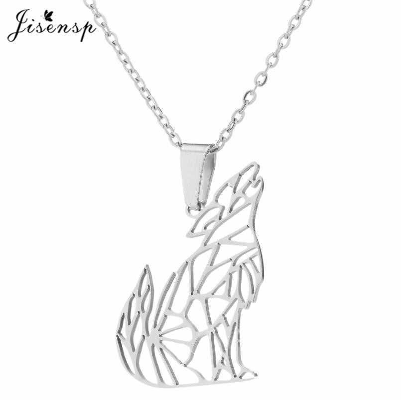 Jisensp Origami wilk wisiorek naszyjnik w stylu Vintage zwierząt ze stali nierdzewnej długi łańcuch naszyjnik Super jakość osobowość biżuteria prezent