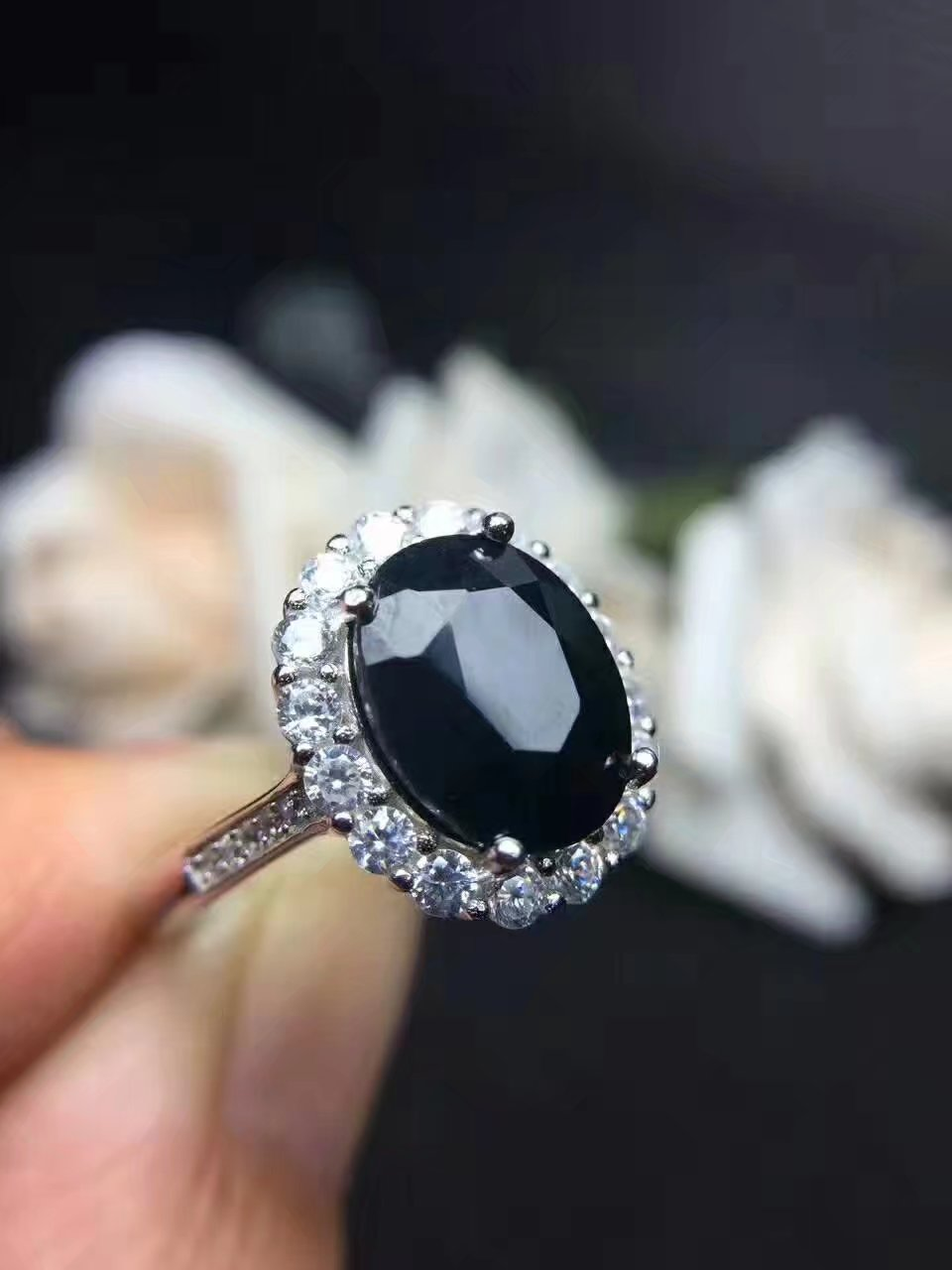 Luxury Male Female Big Oval Engagement Ring 925 Silver Crystal Black Onyx Zircon Stone Ring Vintage Tanzanite Rings For Women