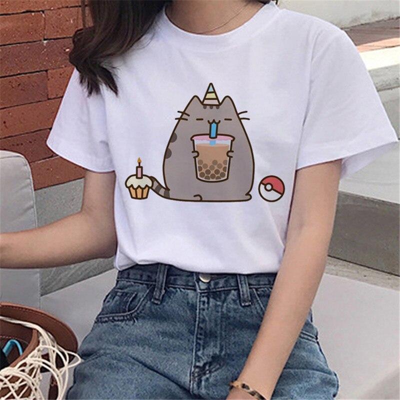 LUSLOS Pusheen Cat Anime Harajuku Short Sleeve T Shirts Women Kawaii Cartoon T-shirt Graphic Tee Shirts Fashion Cute White Tops