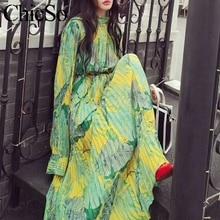 MissyChilli จีบดอกไม้ชีฟองยาวเสื้อผู้หญิงสีเขียว Bohu ชุด Festa หญิงฤดูใบไม้ผลิชุดปาร์ตี้ชายหาดฤดูร้อน