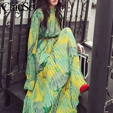 MissyChilli Pleated floral chiffon long sleeve dress Women elegant green bohu dress festa Female spring summer party beach dress