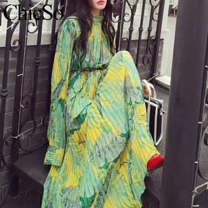 Image 1 - MissyChilli Pleated floral chiffon long sleeve dress Women elegant green bohu dress festa Female spring summer party beach dress