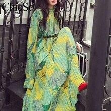 MissyChilli مطوي الأزهار الشيفون فستان بكم طويل المرأة أنيقة الأخضر بوهو فستان فيستا الإناث الربيع الصيف فستان حفلة الشاطئ