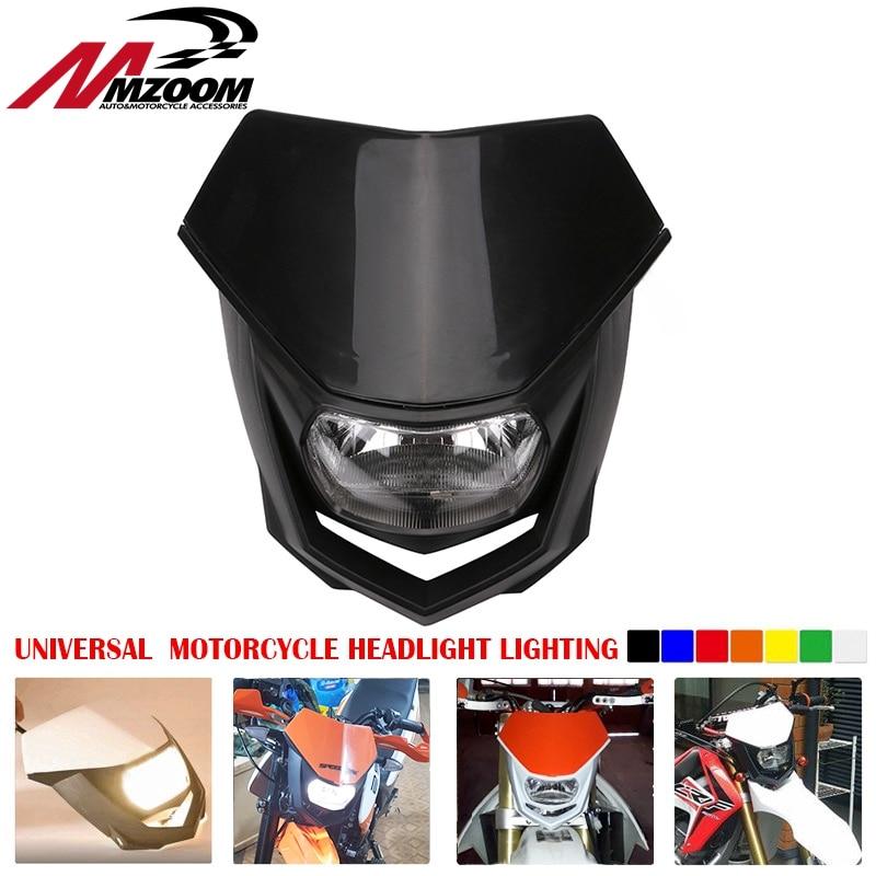 Universal Motorcycle Headlight Head Lamp Lighting Enduro Dual Sport Dirt Bike H4 Headlight Fairing For Yamaha Honda Suzuki KTM