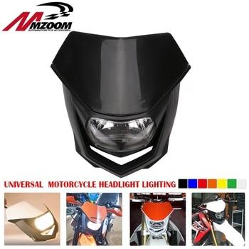цены Universal motorcycle headlight Head Lamp Lighting Enduro Dual Sport Dirt Bike H4 Headlight Fairing For Yamaha Honda Suzuki KTM