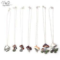 Модное серебряное ожерелье-цепочка с покрытием из оксида с милой эмалью, ожерелье с подвеской в виде гриба для женщин, Очаровательное ожере...