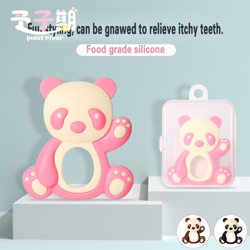 Safe Baby Panda Teether Toys Toddle BPA Free Teething Ring Silicone Chew Dental Care Toothbrush Nursing Beads Gift For Infant