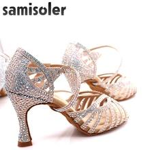 Samisoler/модельные туфли; женская обувь для латинских танцев; Женская атласная танцевальная обувь для сальсы; женская обувь для танго, джаза, бальных танцев