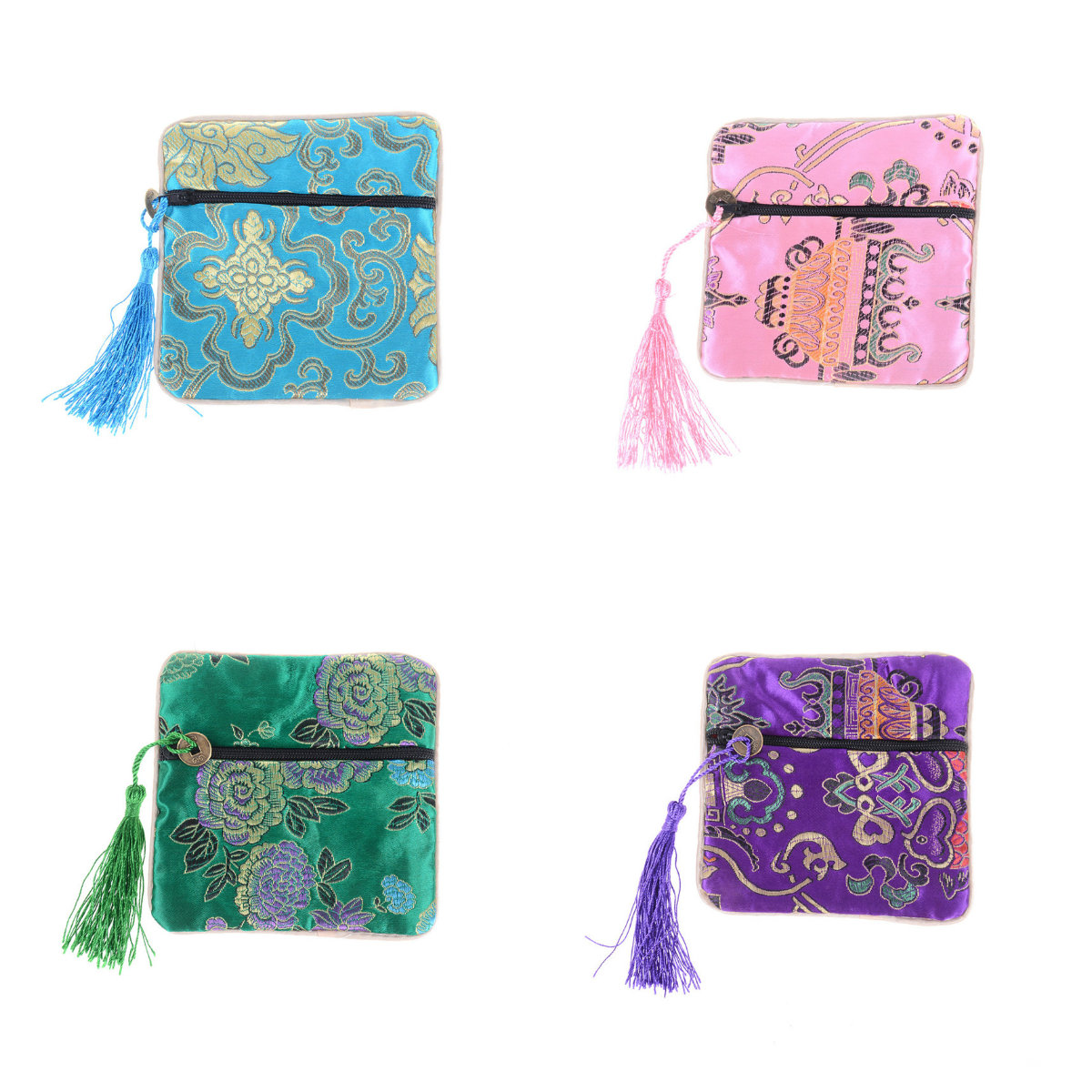 1PCS Silk Jewelry Chinese Coin Tassel Zipper Pouch Bags Wedding Party Gift Sundries Storage Home Storage Organizer Bag