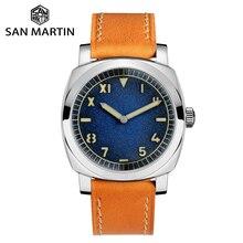 산 마틴 시계 빈티지 스테인레스 스틸 자동 남자 시계 방수 200m 가죽 스트랩 빛나는 방수 미네랄 버블