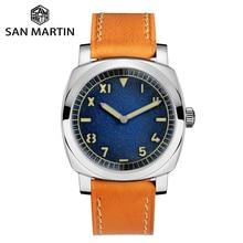 Orologio San Martin orologi da uomo automatici in acciaio inossidabile Vintage cinturino in pelle impermeabile 200m bolla minerale impermeabile luminosa