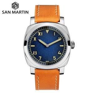 Image 1 - San Martin Uhr Vintage Edelstahl Automatische Männer Uhren Wasserdicht 200m Lederband Licht wasserdicht Mineral Blase