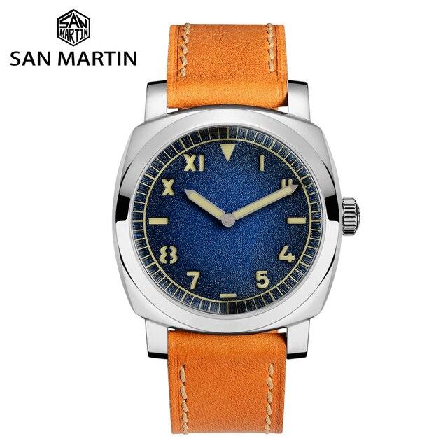 San Martin Uhr Vintage Edelstahl Automatische Männer Uhren Wasserdicht 200m Lederband Licht wasserdicht Mineral Blase
