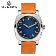 Zegarek San Martin stal nierdzewna Vintage automatyczne zegarki męskie wodoodporny pasek skórzany 200m Luminous wodoodporny bańka mineralna