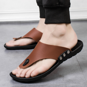 Men Summer Non-Slip PU Beach Slippers Flats High Top Plus Size 44 Outdoor Casual Shoes