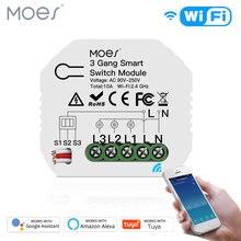 Mini DIY WiFi inteligentny przełącznik światła 3 Gang 1/2 Way moduł inteligentne życie/kontrola aplikacji Tuya działa z Amazon Alexa i Google Home