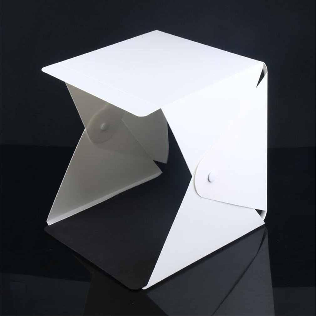 Mini Lipat Lightbox Fotografi Foto Studio Softbox Lampu LED Lembut Box Foto Latar Belakang Kit Kotak Cahaya Kamera DSLR Dropshi