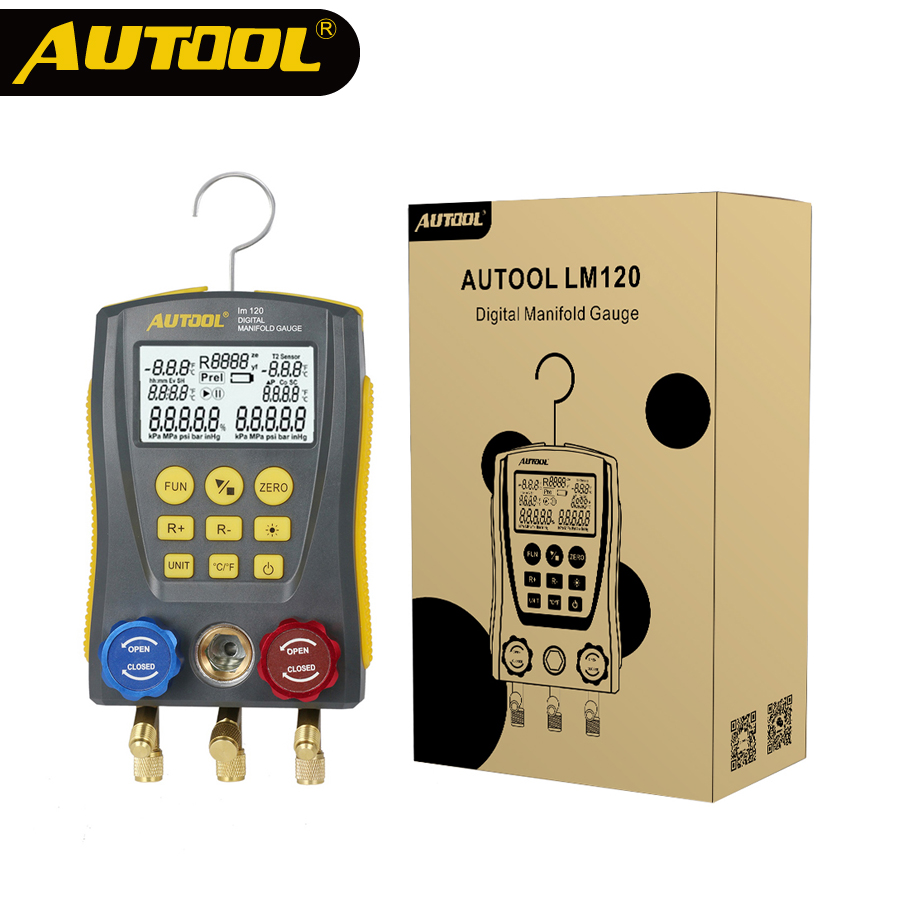 AUTOOL LM120 Refrigeration Manifold Digital HVAC Cold Medium Vacuum Pressure Temp Car Air Conditioning Tester PK Testo DY517A