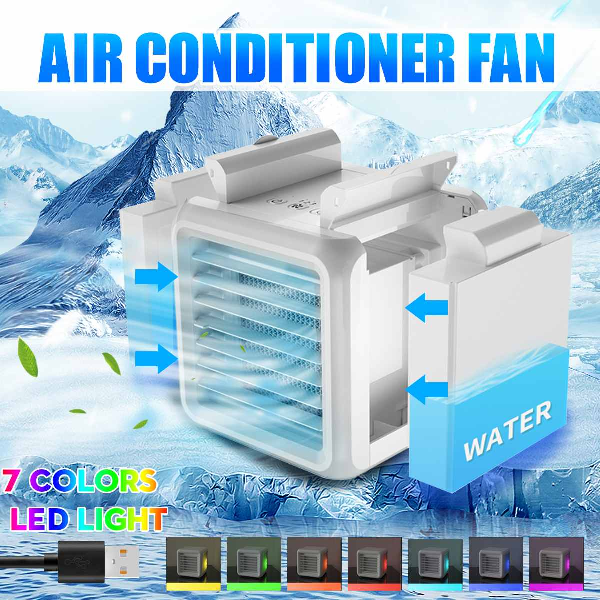 Portable Mini Air Conditioner Fan 7-Colors LED Conditioning Humidifier Purifier USB Desktop Air Cooler Fan + 2 Water Tanks Home