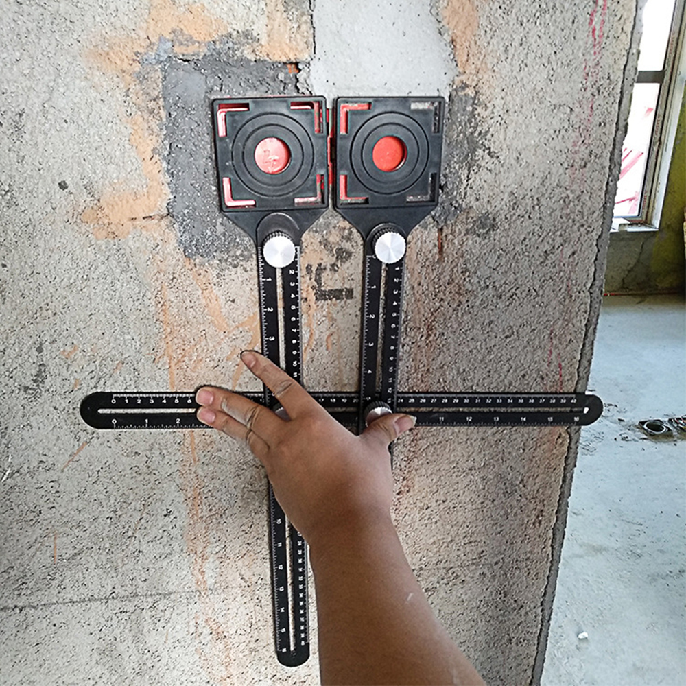 Multi-Functional Ceramic Tile Hole Locator Universal Adjustable Double Head Folding Ruler Mud Tile Glass Fixed Punch Tiling Tool