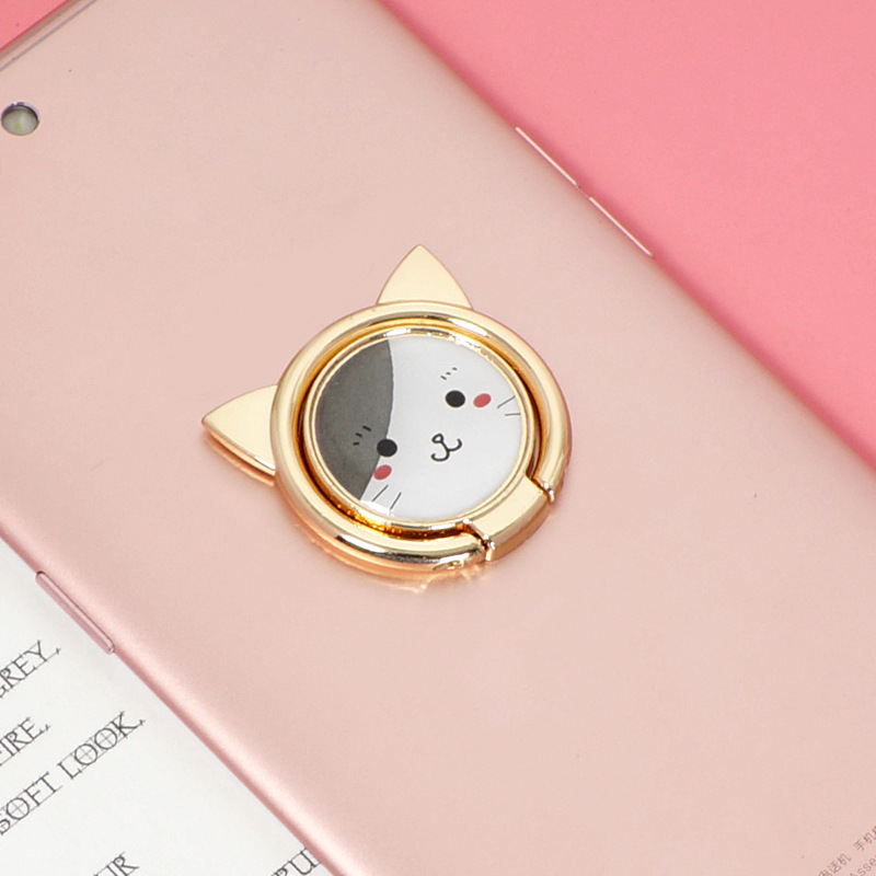 New Cartoon Cat Finger Ring Phone Holder 360 Degree Rotating Stand For IPhone 11 XR Samsung Xiaomi Huawei All Mobile Phone Mount