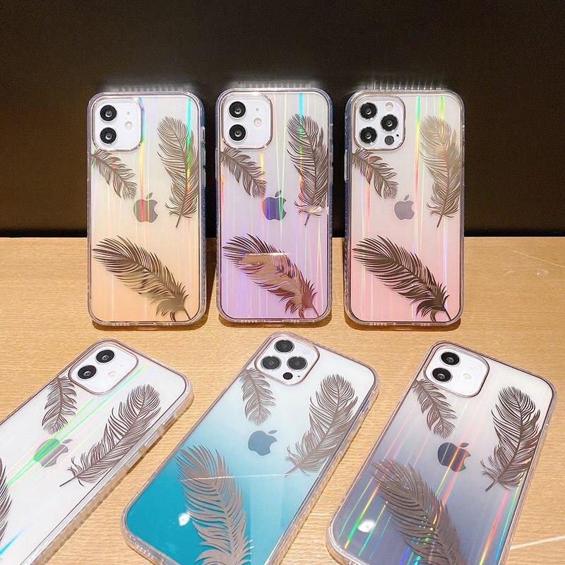 Funda de teléfono con pluma láser gradiente para iPhone, carcasa trasera transparente a prueba de golpes para iPhone 11 12 Pro Max 12Mini XR XS Max X 7 8 Plus 6