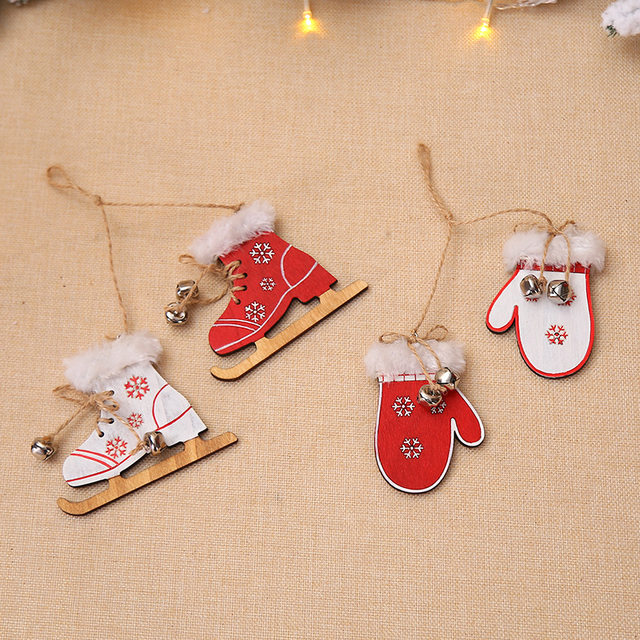 2pcs/set Wooden Snowflake Gloves Sleigh Bells Hanging Pendant Christmas Tree Decoration Ornaments Christmas Decorations for Home 14
