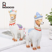 Roogo Resin Alpaca Miniature Figurines Cute Animal Home Decoration Accessories Creative Gift for Kids Mini Ornaments Decor