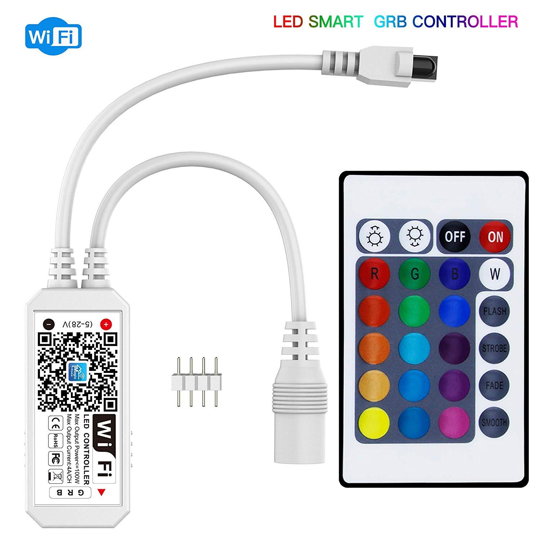 DC 5V 12V 24V RGB LED Wifi Controller Mini Smart Light Strip Music Switch Wireless Remote Control 5050 WS2811 WS2812B Magic Home