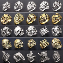 Wholesale brand 20pcs ring set mixed lots men's women's Gold and silver Vintage skull punk style biker Zinc Alloy jewelry vintage nepalese style etched ring set