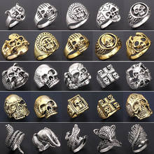 Wholesale brand 20pcs ring set mixed lots men's women's Gold and silver Vintage skull punk style biker Zinc Alloy jewelry(China)