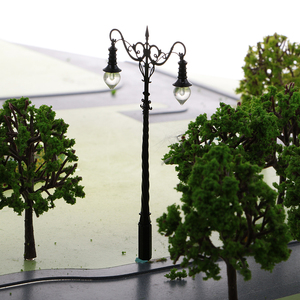 2 Pieces Park Courtyard Lantern Model Railway Train Lamp Lamppost with Dual Head Street Lights LEDs 1:64 S Scale 3V DIY
