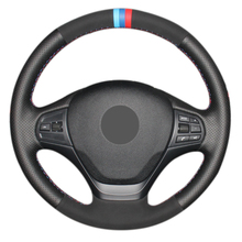 yuji hong top layer genuine cow leather car steering wheel covers case for bmw 320i m135i 2013 320d 335i 328i f20 f30 Hand Sew Black Suede Black Genuine Leather Comfortable Car Steering Wheel Cover for BMW F30 316i 320i 328i
