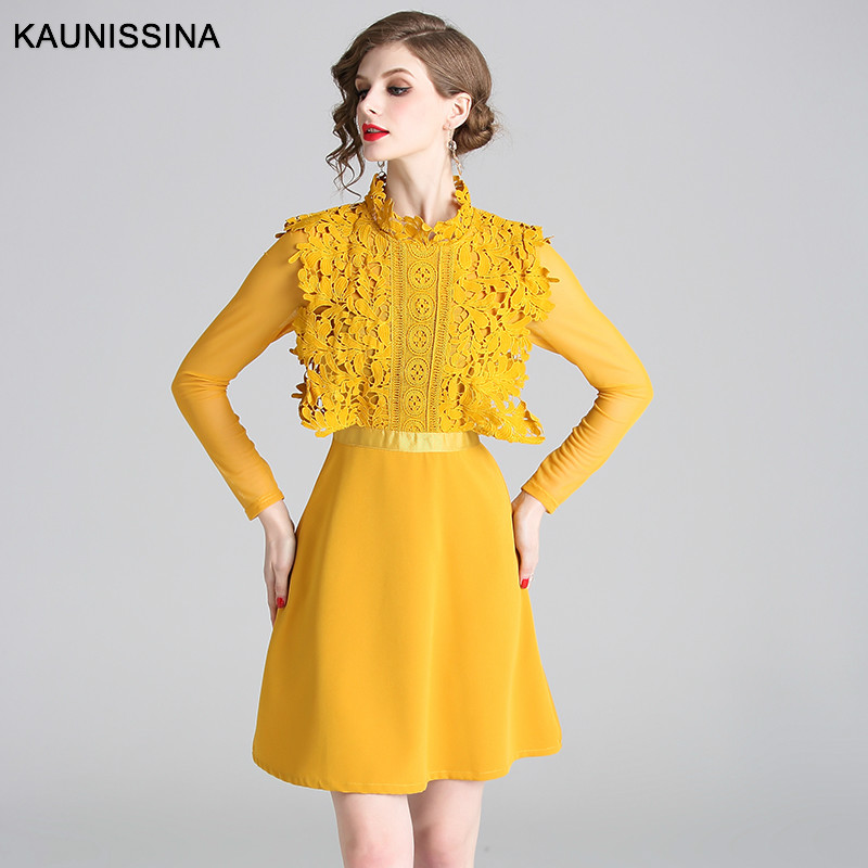 KAUNISSINA Lace Cocktail Dresses Long Sleeve Elegant Homecoming Dress Yellow Short Party Gown Ladies Vestidos