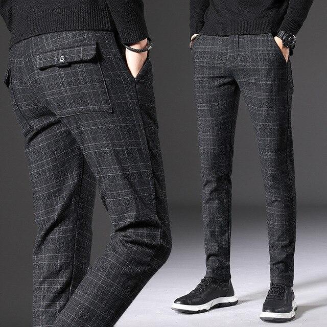 Autumn Winter Thick Suit Pants Men Slim Fit Fashion Black Grey Plaid Formal Dress Pants Plus Size Business Casual Mens Trousers