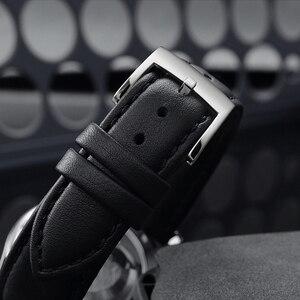 Image 5 - San Martin Männer Kleid Uhr Business Automatische Mechanische Watche Mode Swift Leder Sapphire Sehen durch Fall Zurück Datum Fenster